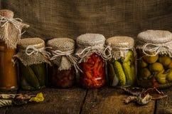 煮熟的菜,腌汁,自创番茄酱 免版税库存照片