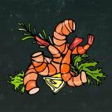 煮熟的虾或大虾鸡尾酒、草本和柠檬 隔绝在黑板背景乱画手拉动画片的葡萄酒 免版税库存图片