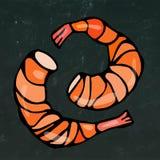 煮熟的虾或大虾鸡尾酒、草本和柠檬 隔绝在黑板背景乱画手拉动画片的葡萄酒 库存照片