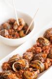 煮熟的蜗牛 免版税库存照片