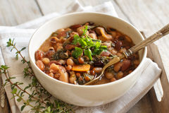 煮熟的豆类和菜在碗 免版税库存图片