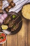 煮熟的kebabs,顶视图 库存照片