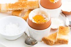 水煮蛋和酥脆多士早餐 库存照片
