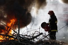 熄灭火消防队员 库存图片
