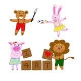 熊、兔子、猪、狮子爱艺术藏品刷子、色板显示和块木头与词我爱艺术传染媒介 免版税库存照片