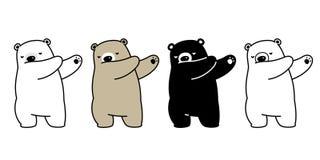 熊传染媒介北极熊轻拍跳舞的卡通人物例证 皇族释放例证