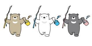 熊传染媒介钓鱼字符动画片商标女用连杉衬裤例证乱画的北极熊象 皇族释放例证