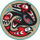 熊传染性的海达族人三文鱼样式 库存图片