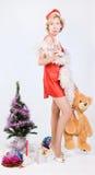 熊克劳斯・圣诞老人使女用连杉衬裤&# 库存图片