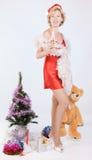 熊克劳斯・圣诞老人女用连杉衬裤 免版税库存图片