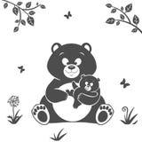 熊剪影 库存照片