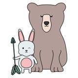 熊北美灰熊和兔子与箭头漂泊样式 库存例证