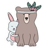 熊北美灰熊和兔子与羽毛帽子boho样式 向量例证