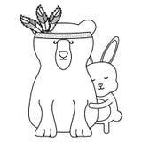 熊北美灰熊和兔子漂泊样式 向量例证