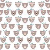 熊北美灰熊有羽毛帽子样式背景 库存例证