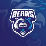 熊吉祥人商标与现代例证概念样式的设计传染媒介徽章、象征和T恤杉打印的 北美灰熊 向量例证