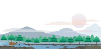 熊和三文鱼在巨大湖风景 皇族释放例证