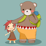 熊和女孩旅行传染媒介 库存例证
