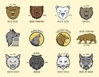 熊和狼顶头动物徽章导航例证 库存照片