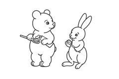 熊和野兔刷他们的有牙刷的牙 上色的,概述图片 皇族释放例证
