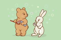 熊和野兔刷他们的牙 向量例证