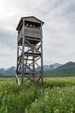 熊和野生生物观测塔  堪察加,自然公园Nalychevo 库存照片