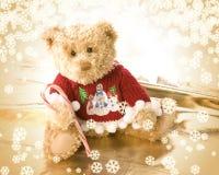 熊圣诞节逗人喜爱的女用连杉衬裤 库存照片