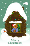 熊在家单独 看板卡圣诞节问候 免版税库存照片