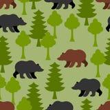 熊在森林作为一个无缝的样式 北美灰熊和树 向量例证