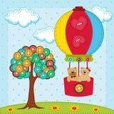 熊在气球飞行在与树附近从   免版税库存照片