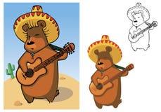 熊墨西哥流浪乐队 向量例证