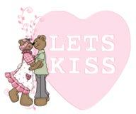 熊夫妇亲吻让 免版税库存照片