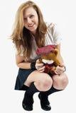 熊女大学生她的女用连杉衬裤 免版税库存照片