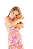 熊女孩少许采取的女用连杉衬裤 免版税库存图片