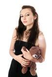 熊嬉戏的采取的女用连杉衬裤妇女 库存图片