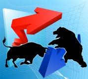 熊对公牛股市概念 免版税库存照片