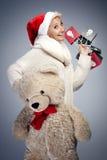 熊微笑的女用连杉衬裤妇女 免版税库存照片