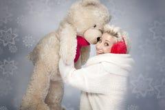 熊微笑的女用连杉衬裤妇女 免版税库存图片