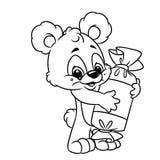 熊快乐的糖果着色页动画片 图库摄影