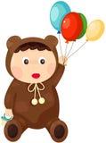 熊成套装备的婴孩 库存图片