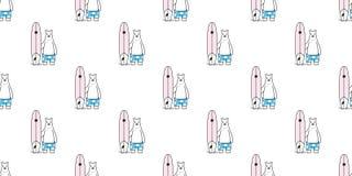 熊无缝的样式传染媒介北极熊海浪海滩冲浪板海浪夏天动画片围巾被隔绝的瓦片背景缎带包装稀土 皇族释放例证