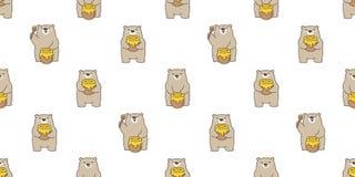 熊无缝的样式传染媒介北极熊蜂蜜蜂动画片例证瓦片背景重复墙纸围巾隔绝了 库存例证