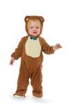 熊服装的男婴 免版税库存照片