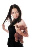 熊深色的性感的女用连杉衬裤 库存照片