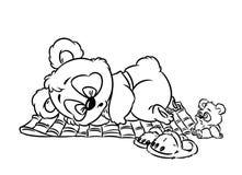 熊猫一点睡觉着色页 免版税库存图片