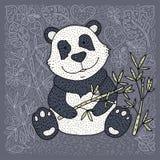 熊猫与竹子的例证传染媒介 手拉的动画片卡片 皇族释放例证