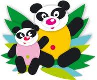 熊猫乐趣动物逗人喜爱的竹孩子微笑绿色 免版税库存照片