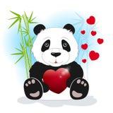 熊猫保留心脏,传染媒介例证 免版税库存图片