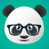 熊猫具体化佩带的玻璃 免版税库存图片