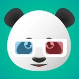 熊猫具体化佩带的玻璃 图库摄影